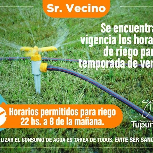 HORARIO DE RIEGO CuidemosElAgua Se encuentra en vigencia el horariohellip